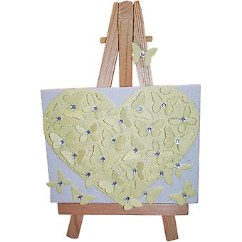Heart Canvas - White Yellow by Wee Bee Gifts