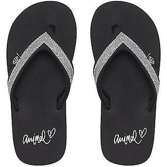 Animal Swish Slim Girls Flip Flops in Black