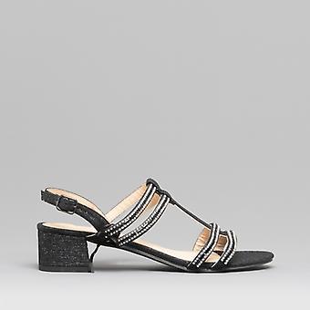 Comfort Plus Josie Ladies Wide Fit Block Heel Sandals Black