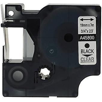 Kaseta Prestige™ kompatybilna d1 45800 czarna na przezroczystych taśmach (19mm x 7m) dla producentów etykiet elektronicznych