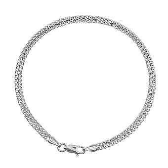 14k White Gold 2 Row Hollow Vete Chain Armband Hummer Claw Stängning och 7,50 tums smycken gåvor för kvinnor