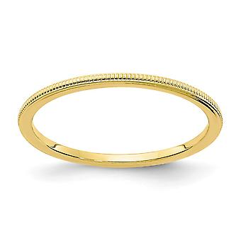 10ky 1.2mm Milgrain Stackable Band Ring Jewelry Gifts for Women - Ring Size: 4 to 10