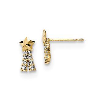 4.25mm 14k Madi K Kids CZ Cubic Zirconia simuleret Diamond Shooting Star Post Øreringe smykker gaver til kvinder