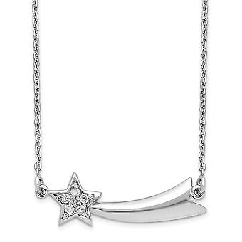 925 Sterling Silver Rhodium plated CZ Cubic Zirconia Simulated Diamond Shooting Star With 2inch Ext. Necklace 16 Inch Je