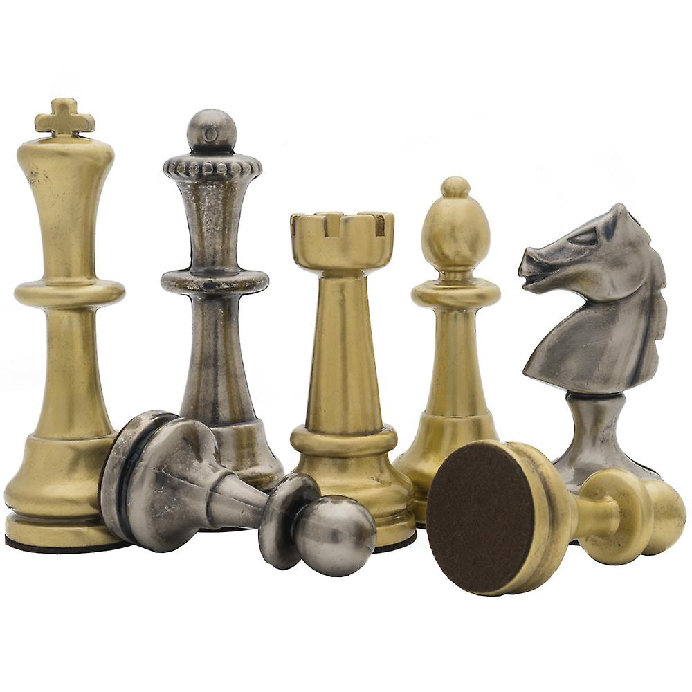 The Vicenza Brass and Nickel Plated 4.75 inch Chess Men