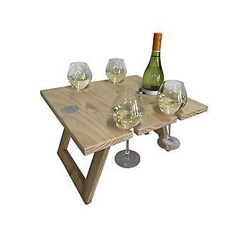 Pine 4 Glasses Portable Folding Wine Table