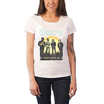 The Doors T Shirt Womens Waiting For The Sun new Official white skinny fit