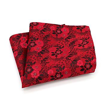 Red & black mixed floral men's wedding pocket square