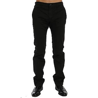 GF Ferre Black Cotton Stretch Chinos Pants