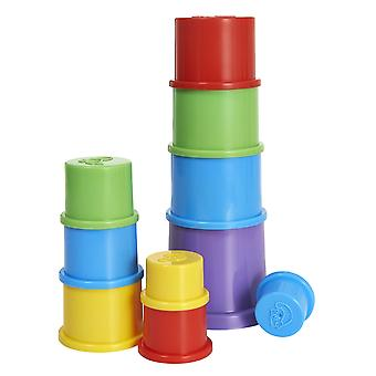 Stackable Cups - Set Of 8 - Toy Game Baby - For Learning Shapes And Colours - Bpa Free!