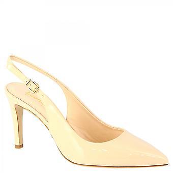 Leonardo Shoes Women-apos;s handmade slingback mid heels pumps beige patent leather
