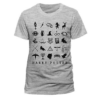 Men's Harry Potter Icons Grey Crew Neck T-Shirt