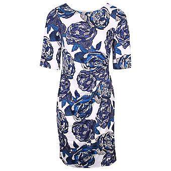 Michaela Louisa Blue & White Floral Print Dress With Three Quarter Sleeves
