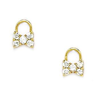 14k Yellow Gold CZ Cubic Zirconia Simulated Diamond Small Bow Screw back Earrings Measures 8x6mm Jewelry Gifts for Women