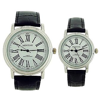 Montine Analogue His & Hers Black Leather Strap Buckle Watch Gift Set MOX3564