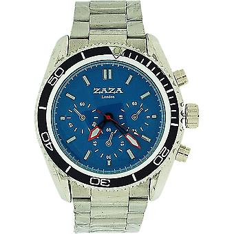 Zaza London Chrono Effect Blue Dial Metal Bracelet Strap Gents Watch MMB234