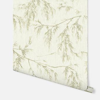 698205 - Willow Tree Cream & Green - Arthouse Wallpaper