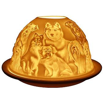 Fine Chinese Porcelain Lithophane Tea Light Holder -  Best Friends (Dogs)