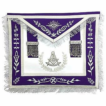 Loge maçonnique passé maître argent machine broderie tablier violet