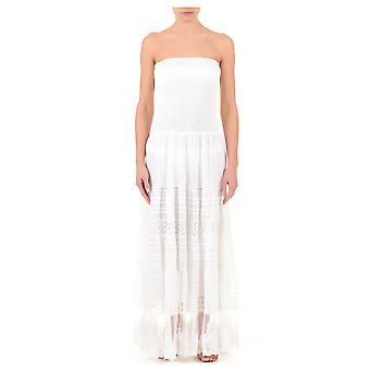 Iconique IC7-008 Women's White Embroidered Cotton Strapless Beach Dress