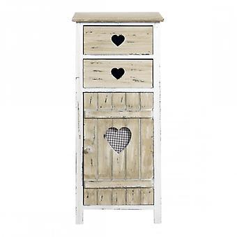 Huone kalut Rebecca Comodino 2 laatikkoa puusta sydämet shabby 84x37x30