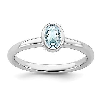 925 Sterling Silver Bezel Polished Rhodium plated Stackable Expressions Oval Aquamarine Ring Jewelry Gifts for Women - R