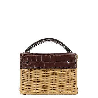 Wicker Wings Minikuaiwithcrocbrown Women's Brown Canvas Handbag