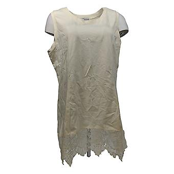 Kathleen Kirkwood Women's Top Swing Cami w/ Point Lace Hem Ivory A311345