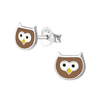 Owl - 925 Sterling Silver Colourful Ear Studs - W35856x