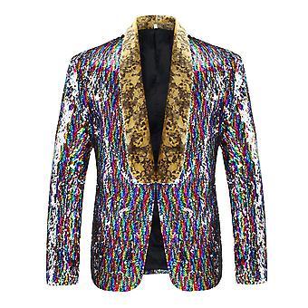 Cloudstyle Men's Blazer Colorful Sequins Shining Party Suit Jacket