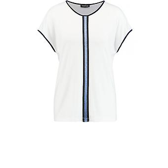 Taifun White Jersey Navy Edged Top