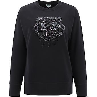 Kenzo Fa52sw9014xn99 Kvinder's Sort bomuld sweatshirt