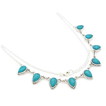 Turquoise Necklace 925 Silver Sterling Silver Necklace Necklace Blue Green (MCO 01-15)
