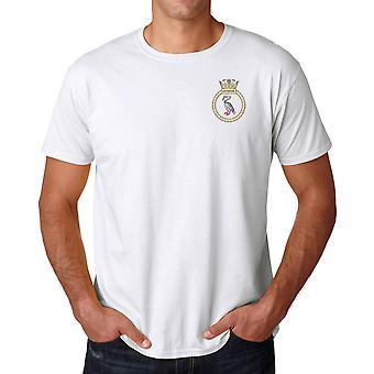 HMS Liverpool brodeerattu Logo - virallinen Royal Navy Ringspun puuvilla T-paita