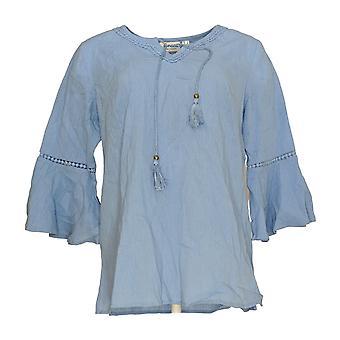 Denim & Co. Women's Top Crinkle Gauze Bell Sleeve Top Blue A306777