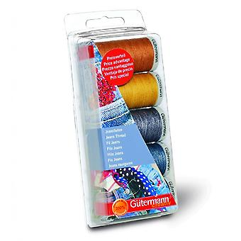 Gutermann Jeans Thread Set voor hand- en machinegebruik - 5 kleurenset