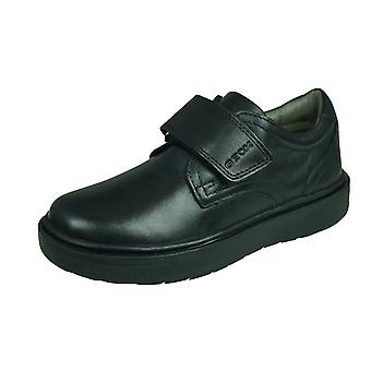 Geox J Riddock B G Kids Leather School Shoes / Hook and Loop  - Black