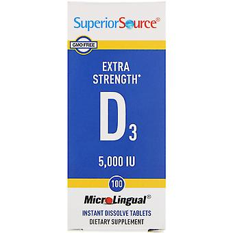 Superieure bron, extra sterkte vitamine D3, 5.000 IE, 100 MicroLingual Instant D