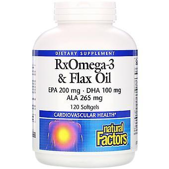 Natürliche Faktoren, RxOmega-3 & Flachsöl, 120 Softgels