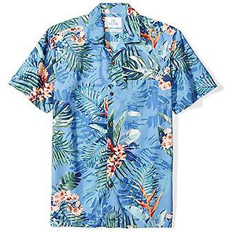 28 Palms Men's Standard-Fit 100% Cotton Tropical Hawaiian Shirt, Blue Bird of...