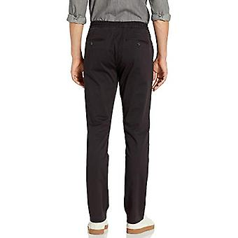 """Brand - Goodthreads Men's Slim-Fit Washed Chino Drawstring Pant, Black Small/32"""" Inseam"""