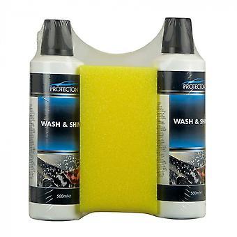 reinigingsset Wash & Shine met spons 1 liter 3-delig