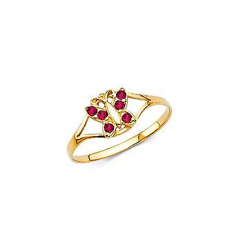 14 Καράτια Κίτρινο χρυσό CZ κυβικά Zirconia προσομοιωμένο Diamond Jul αγόρια και κορίτσια δακτύλιο μέγεθος 3-. 7 γραμμάρια