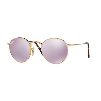 Ray-Ban Round Metal RB3447N 001/8O shiny guld/violett spegel solglasögon