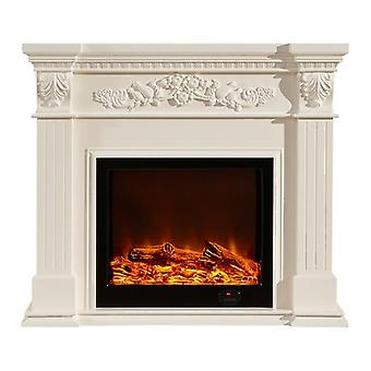 European Style Fireplace Set Wooden Mantel W120cm Electric Insert Burner
