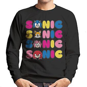 Sonic The Hedgehog Character Text Variation Men's Sweatshirt