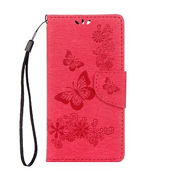 For Huawei  P10 Plus Butterflies Embossing Horizontal Flip Leather Case with Holder & Card Slots & Wallet & Lanyard(Red)