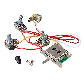 Guitar Wiring Harness 1V2T 1Jack 3-500K Pots 5Way Switch