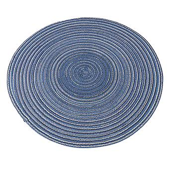 Round Placemats Heat-Resistant Stain Resistant Table Mats Dia14.96Inch Blue