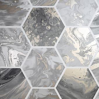 Marbled Hex Wallpaper Charbon de bois / Rose Gold Arthouse 908502
